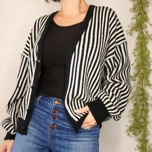 Vtg mod stripe oversize Grandpa cardigan sweater